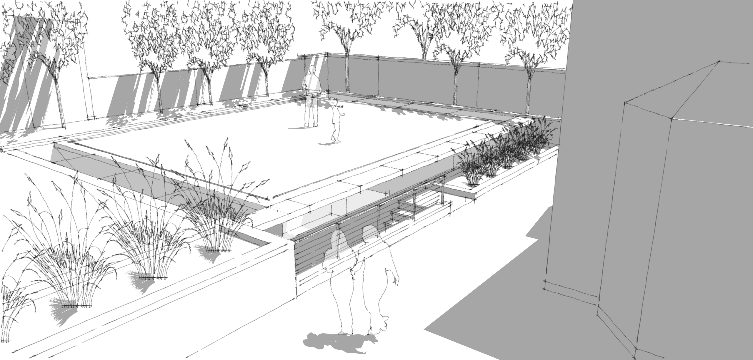 Sub terranean swimming pool commission progresses for Swimming pool sketch