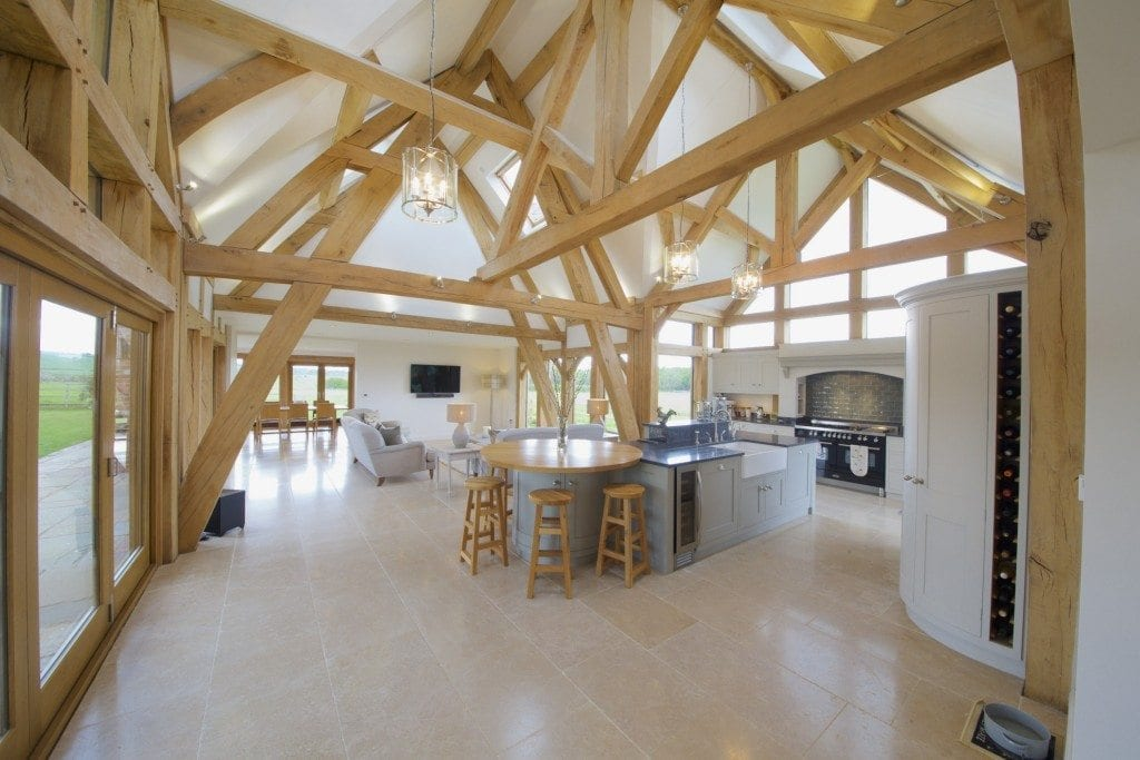 Oak framed kitchen dining and garden room extension to for Framed pictures for dining room