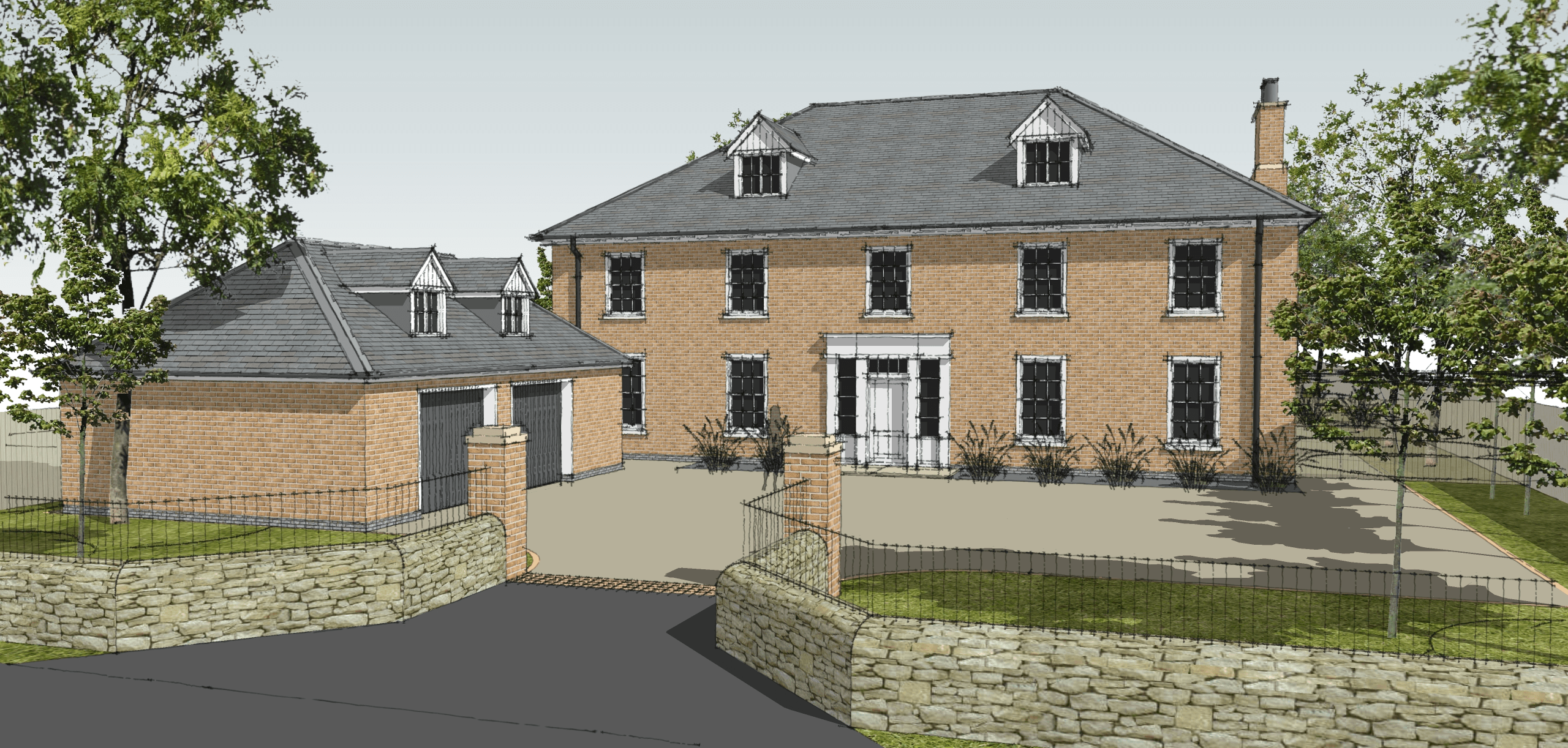 New build georgian inspired house leaf architecture for Modern house uk