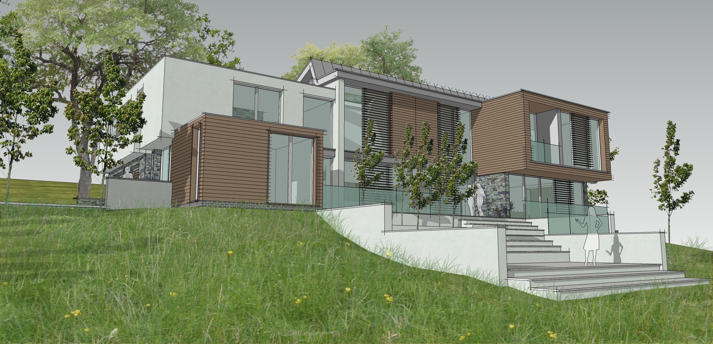 Contemporary house design progresses through feasibility stage leaf architecture for Contemporary modern home designs