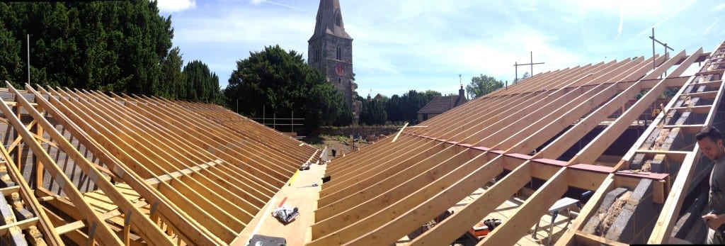 Modern ironstone house roof structure shows framing of church…