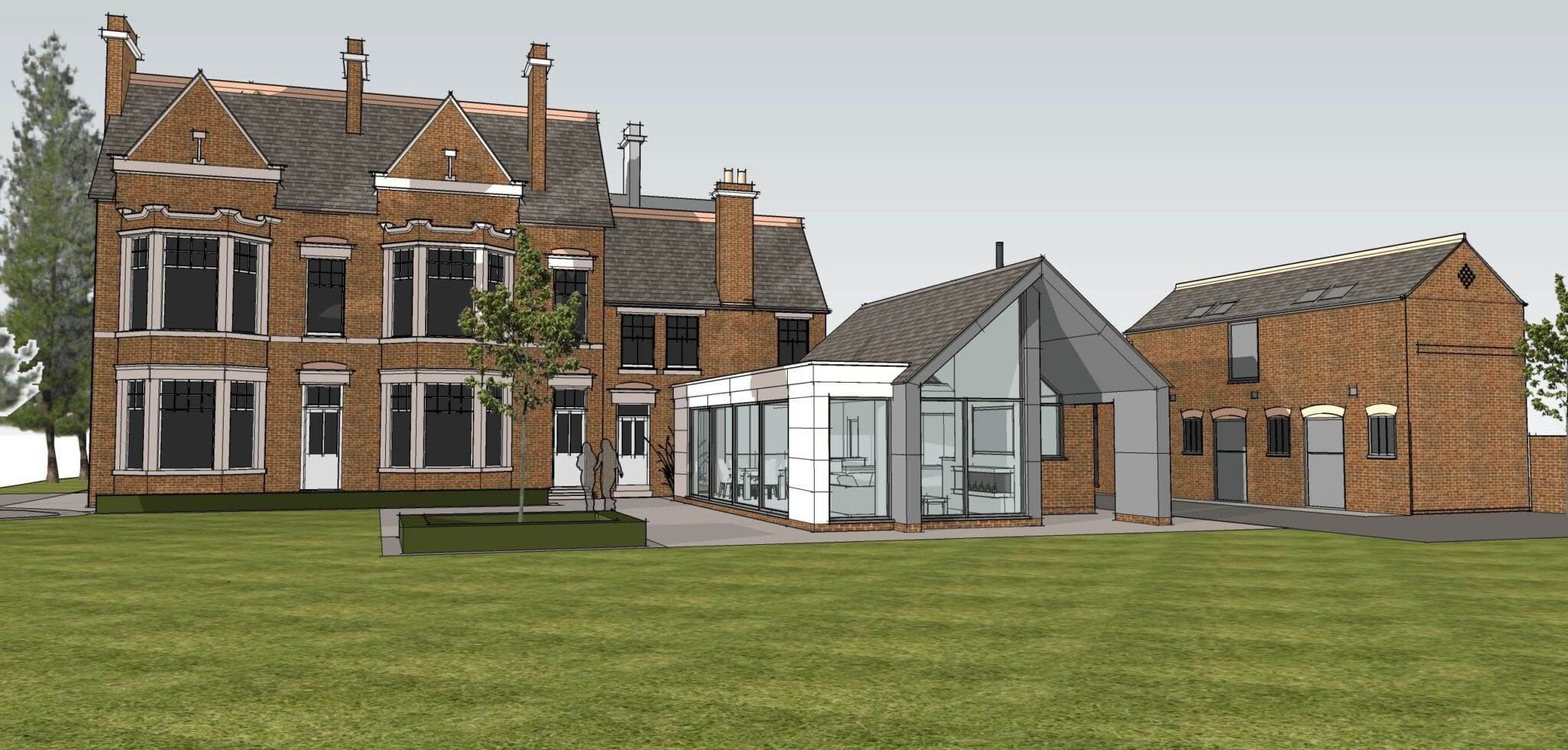 Stone, glass and zinc addition to period house…