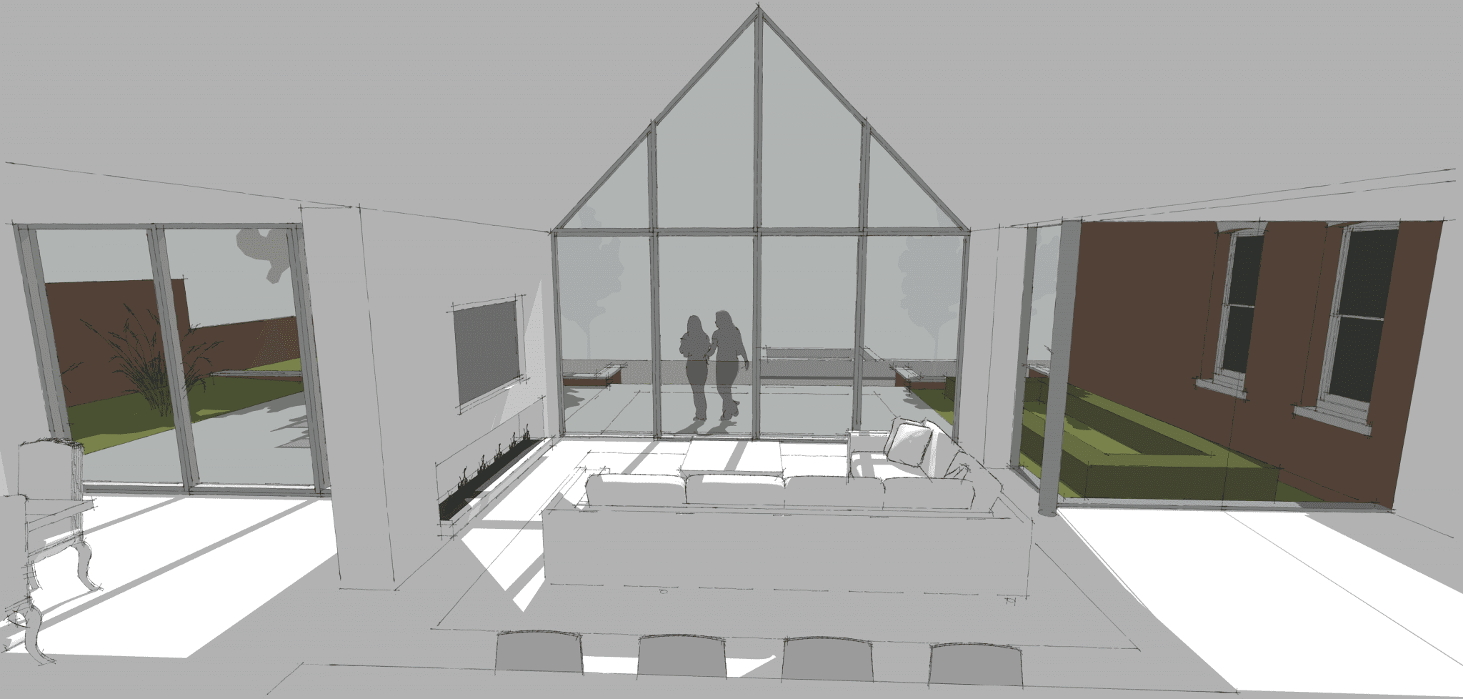 Concept for new modern wing to Georgian House…