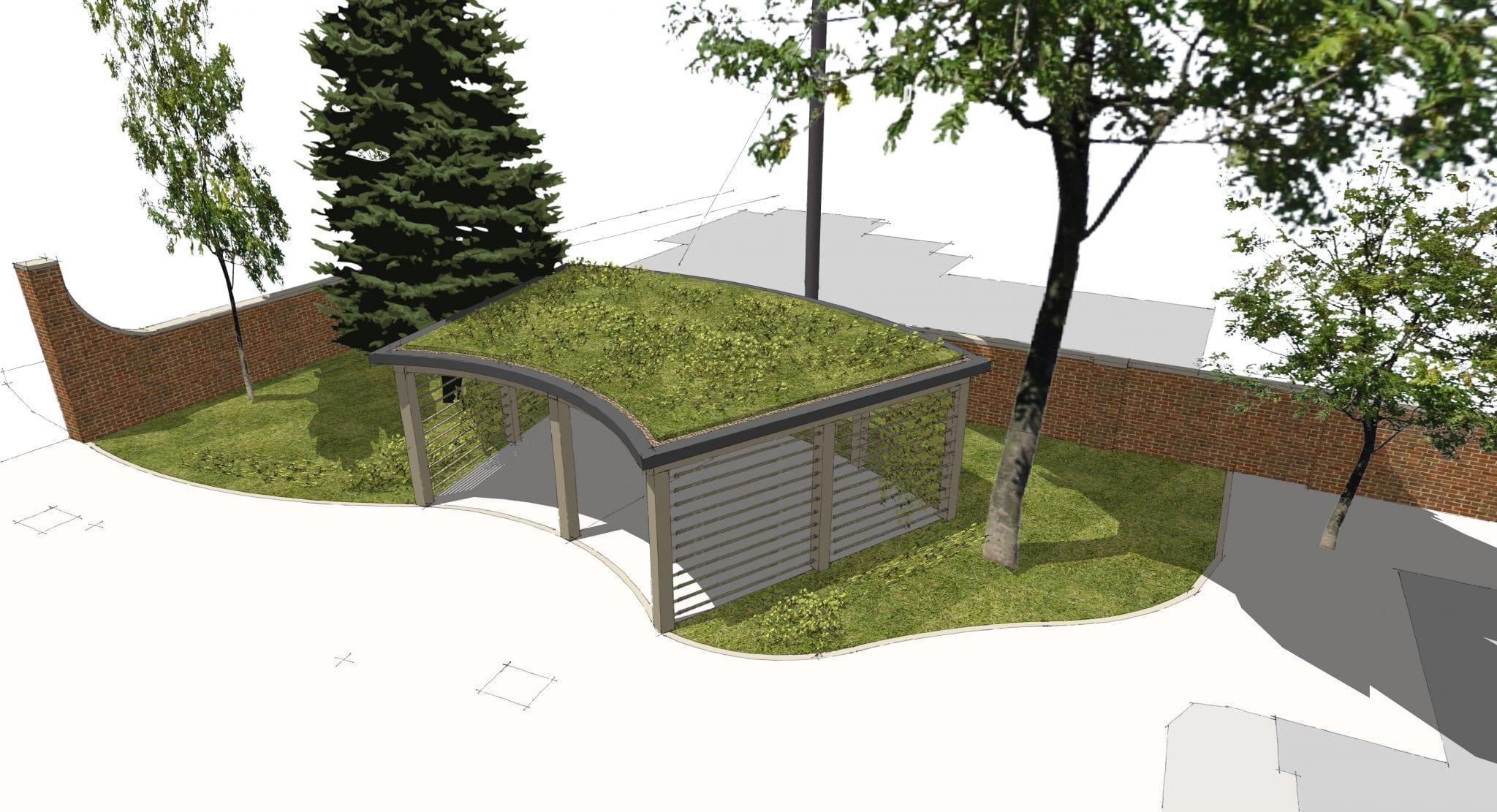 Sedum Roof Oak Framed car port to Listed Building secures planning…