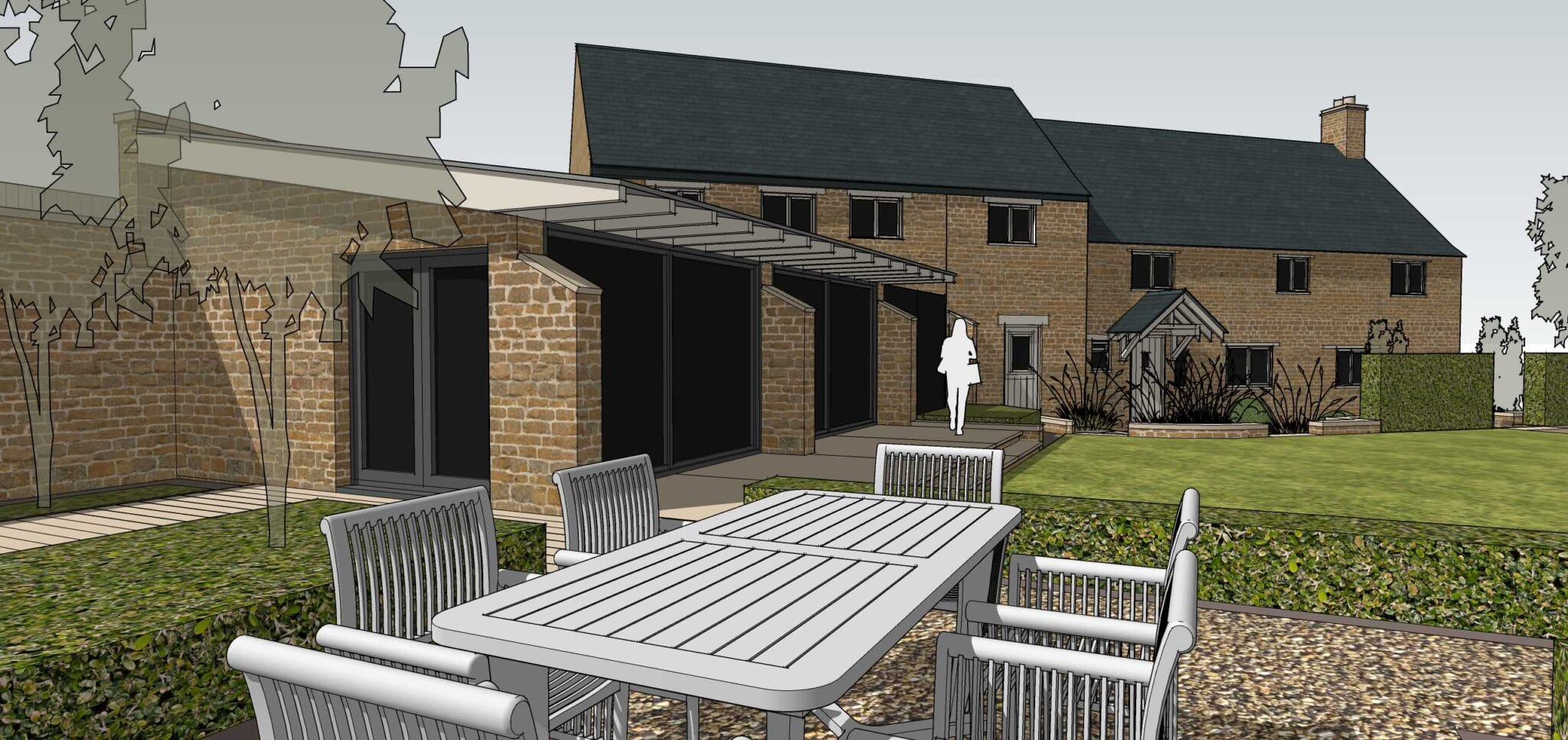 Planning Permission Secured for Glass/Stone Garden Room within Conservation Area…